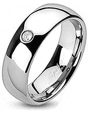 Wolfram Ring - Klassisch mit einem Strassstein, Bandring 8 mm breit (Größe frei wählbar)
