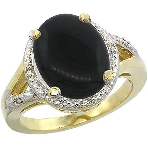 In oro giallo 14 kt, con anello d'onice ovale, 12 x 10 mm, taglio diamantato, taglie J-T