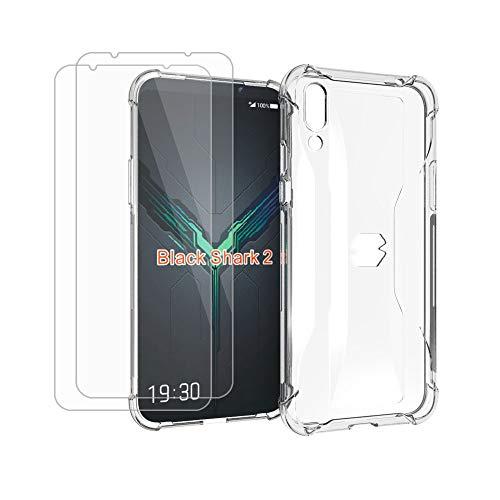 HYMY Hülle für Xiaomi Black Shark 2 + 2 x Schutzfolie Panzerglas -Transparent Erdbebenresistenz Schutzhülle TPU Handytasche Tasche Verstärkung an Vier Ecken Case für Xiaomi Black Shark 2 (6.39