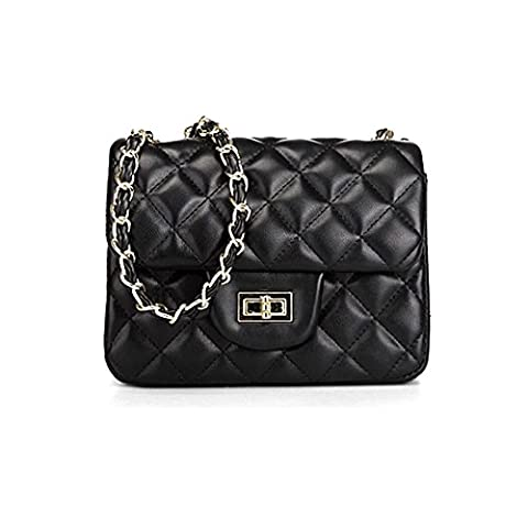 Sheli Womens Classic Black Printing Calfskin Leather Quilted Shoulder Handbag Tote with Bronze Link