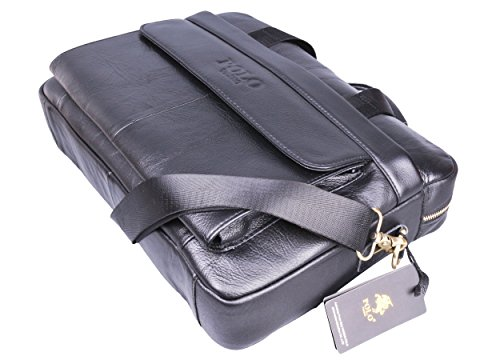 VIDENG POLO Valigetta di pelle,14 pollici Borsa per computer portatile Spalla Attività commerciale Borse da lavoro Nero-p
