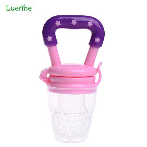 Preisvergleich Produktbild Luerme Baby-Säugling Lebensmittel Obst Essen Feeder Silikon-Nippel-Beißring Fütterung Schnuller Beruhigungssauger (S, Rosa)