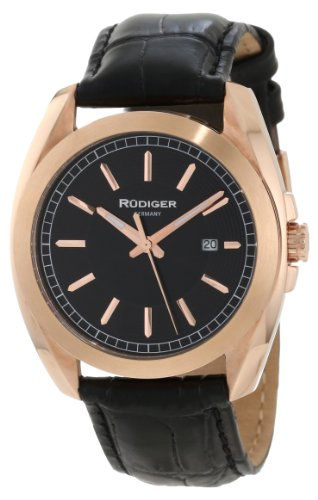 Rudiger Men's R1001-09-007L Dresden Rose Gold IP Black Dial Leather Date Watch