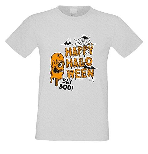 Grusel-T-Shirts Herren FunMotiv Happy Halloween gruselige Geschenk-idee Party-Outfit Kostüm Hexen Gespenster Geister Farbe: grau Grau
