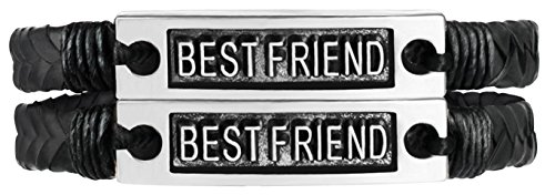 2er Set Geflochtenes Lederarmband Bester Freund Inspirational Text auf Metall Plate - für Jungen, Mädchen, Männer, Frauen (Bester Freund)