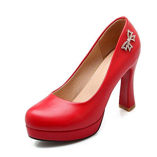 AllhqFashion Femme Tire Rond à Talon Haut Pu Cuir Mosaïque Chaussures Légeres Rouge