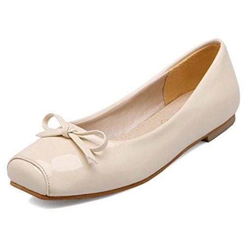 COOLCEPT Damen Slip-on Flach Bequeme Gilrs Ballerinas Pumps mit Bogen Extra Sizes Beige