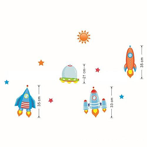 Ufengke® Cartoon Sonne Rakete Raumfahrzeug Wandabziehbilder,Kinderzimmer Babyzimmer Entfernbare Wandtattoos Wandbilder