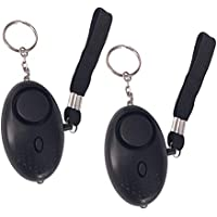 Alarma Personal para Mujeres, Teepao 2 Pack 140DB Alarma de Seguridad de Autodefensa de Emergencia Llavero Alarma de Seguridad de Autodefensa de Sonido con Safe Mini Linterna LED Ideal para Niños, Mujeres, Trabajadores Nocturnos (negro)