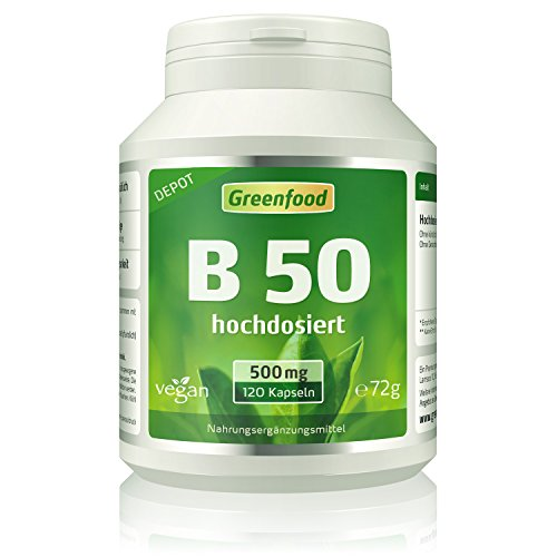 B 50, Vitamine der B-Gruppe, hochdosiert, 120 Kapseln – mit einem Anteil von B-Vitaminen aus natürlicher Quelle. OHNE künstliche Zusätze. Ohne Gentechnik. Glutenfrei.
