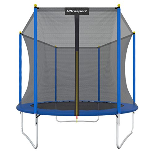 Ultrasport Garden Trampoline Uni Jump Kids Trampoline Complete Set Including Jumping Sheet Safety Net Padded Net Postsand Edge Cover, 2438x2438x2399 centimeters