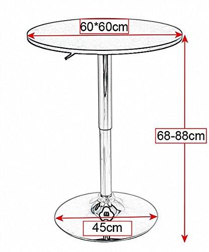 WOLTU BT02sz Tavolino da Bar Piano Rotondo Diametri 60 cm Tavolo Cucina  Girevole Nero