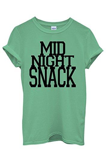 Mid Night Snack Cool Funny Hipster Men Women Damen Herren Unisex Top T Shirt Grün