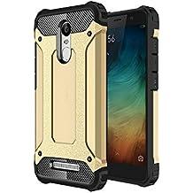 Hanbaili Xiaomi redmi Note 3 Funda Armour cubierta y parachoques absorción de impactos resistente a los arañazos Carcasa Case para Redmi Note 3 Oro