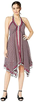 Michael Kors Women's Border-Print Halter Dress, Small, Bone/Garnet