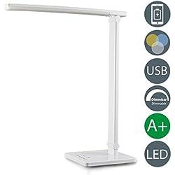 Lampada LED da tavolo apribile, interruttore touch, luce da scrivania dimmerabile e regolabile calda, neutra, fredda, porta USB per ricaricare lo smartphone, plastica bianca, LED integrati 500lm, 230V