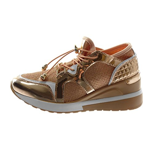 Angkorly Scarpe Moda Sneaker Zeppa bi-Materiale Sporty Chic Zeppe Donna Trapuntata Lucide Elastico Tacco Zeppa Piattaforma 6 cm Champagne