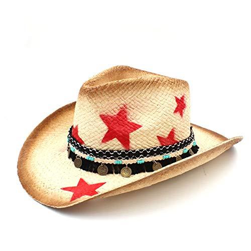 YJIU Sonnenhut Cowgirl Jazz Caps 100% Stroh Frauen Western Cowboy Hut Mit Quaste Lederband Star Lady Dad Sombrero Hombre (Farbe : Natürlich, Größe : 58 cm) -