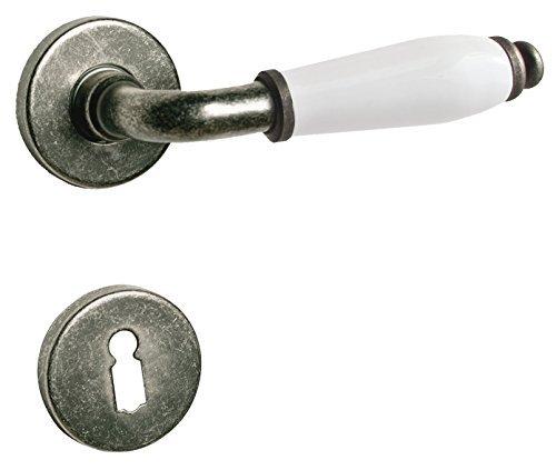 Türdrücker Türklinke Türbeschlag aus Messing Antik Grau verschiedene Rosetten (Buntbart)