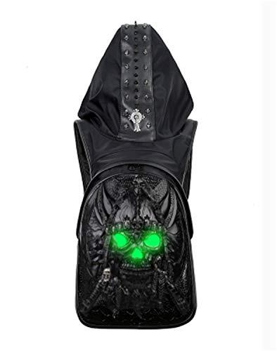 WATERMELON Kreative 3D-Modelle leuchtender Schädel Hut Tasche Herren-PU-Computer Rucksack Student Paket (Color : Black)