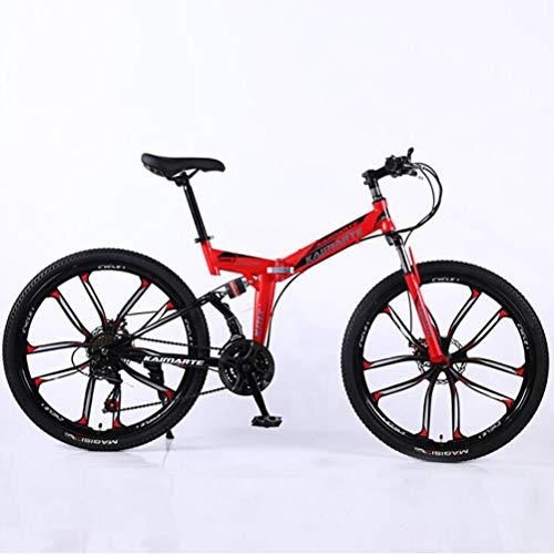 Tbagem-Yjr 24-Zoll-Mountainbike for Erwachsene, Doppelscheibenbremse Stadt Straßenfahrrad 21-Gang-Männer MTB (Color : Red)