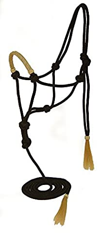 Tahoe Nylon Rope Halter with Lead and Rawhide Braided Noseband, Full, Black