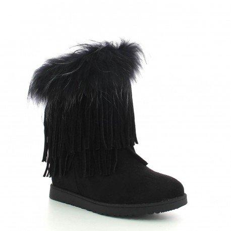 Ideal Shoes - Bottines compensées effet daim avec franges et fourrure synthétique Susana Noir