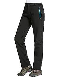 Sidiou Group Invierno al aire libre de poliéster respirable pantalones de camping estiramiento impermeable a prueba de viento forrado polar pantalones de senderismo Softshell Trekking pantalones de esquí (3 Mujer-Negro, S)