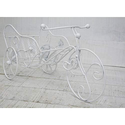 Hogar y Mas Bicicleta Macetero Blanco, realizado en Metal, decoración Vintage y Elegante, Jardin