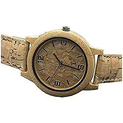 Reloj Hecho a Mano de Corcho Natural con bambú, Reloj de Pulsera de Cuarzo Vegano Unisex para Hombres y Mujeres | Reloj de Madera, Material Respetuoso con el Medio Ambiente Reloj con Wa-87