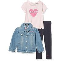 DKNY Girls' Baby and Toddler Layette Set, Denim Jacket Light Wash, 24M