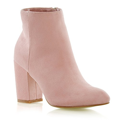 ESSEX GLAM Damen Chelsea Stiefeletten Blockabsatz Kurzschaft Reißverschluss Stiefel (UK 6 / EU 39 / US 8, Pastell Rosa Wildlederimitat)