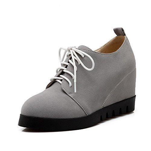 VogueZone009 Damen Hoher Absatz Mattglasbirne Gemischte Farbe Schnüren Pumps Schuhe Grau