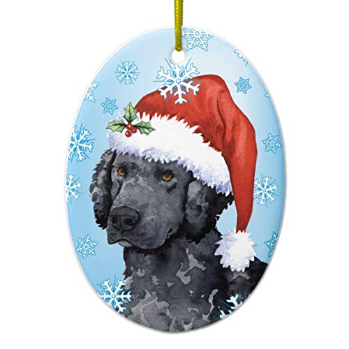 Lplpol Happy Holidays Curly-Coated Retriever Ceramic Ornament for Gift Commemoration Day -