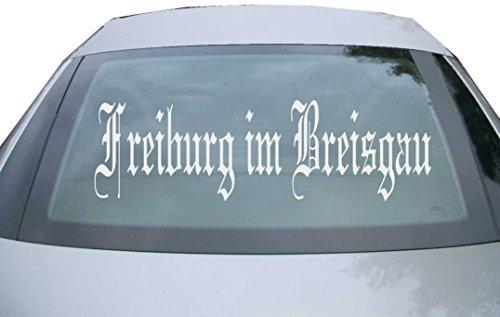 INDIGOS UG - Aufkleber Heckscheibe & Motorklappe DE6501 - Silber - 600x180 mm - Stadt Freiburg im Breisgau - Auto Scheiben Fenster Heckklappe Tuning Racing JDM - Die Cut