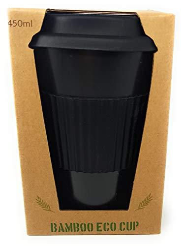 Typhon Wiederverwendbare Bambus-Kaffeebecher, umweltfreundlich, 450 ml, Bio-Bambus-Tasse mit wiederverwendbarem Silikon-Deckel und -Hülse, umweltfreundlich und biologisch (Obsidian Black)