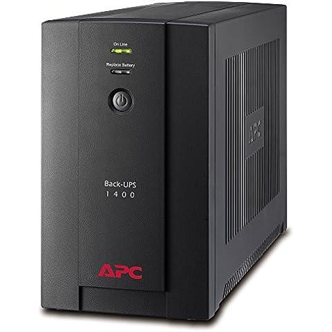 APC Back-UPS BX 1400VA - BX1400UI - Sistema de alimentación ininterrumpida SAI - 6 salidas tipo IEC, AVR, USB, software de apagado