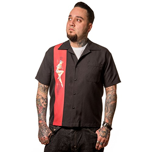 Steady Clothing Vintage Bowling Hemd - Single Pin-Up Rot Retro Bowling Shirt (M) (Herren-vintage-bowling-shirt)