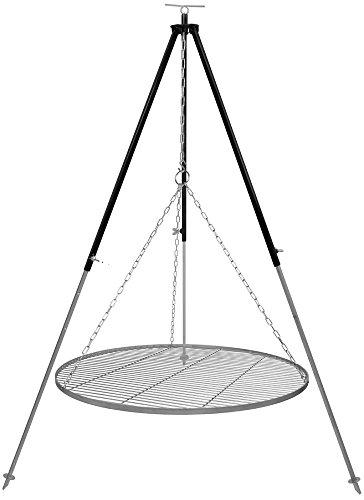 Schwenkgrill Dreibein 1,8 m Kettenhöhenverstellung mit Grillrost Edelstahl 80 cm