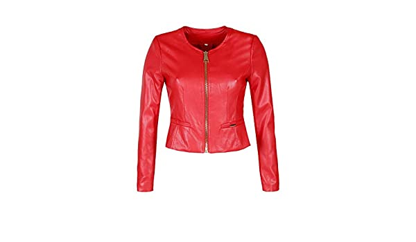 SOLADA Giacca in Ecopelle Rosso Donna Mix: Amazon.it