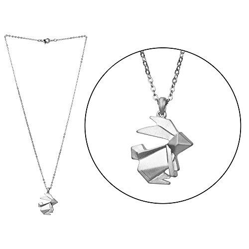 Halskette Fantasie aus versilbertem Metall - Hase in Origami