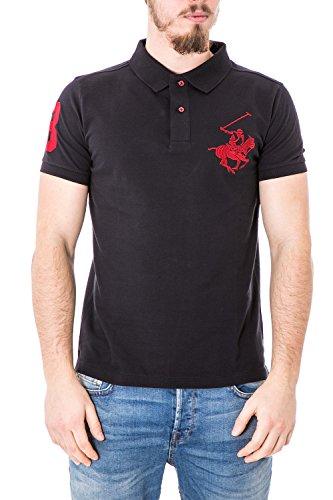 BEVERLY HILLS POLO CLUB - Herren pleasant fit printed polo shirt t-shirt bhpc2611 xl schwarz