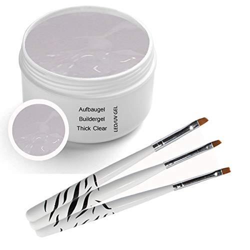 Scopri offerta per UV Gel Thick - Clear - trasparente 30ml comprensivo di 3 pezzi. Set di pennelli per unghie