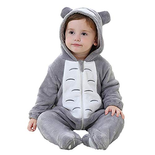 Baby Totoro Kostüm - Unisex Pyjama Tier Strampler Kostüme Flanell Bekleidung Jumpsuit Schlafanzug Overall Baby Spielanzug (Totoro,90cm)