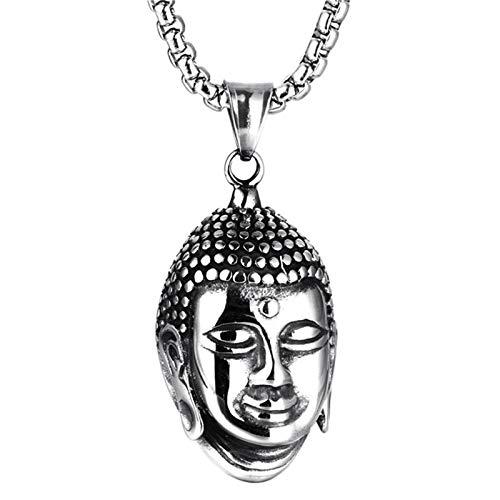 DOLOVE Edelstahl Halskette Männer Mit Anhänger Buddha Partner Kette Silber Freundschaftskette