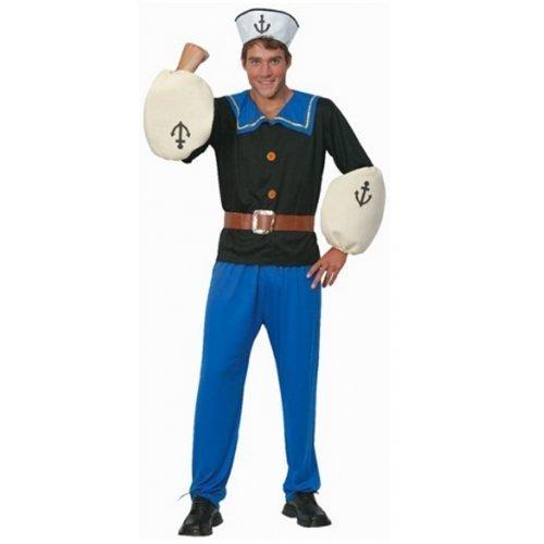 ADULTES HOMMES 4 pièces solide MATELOT 1960s dessin animé halloween enterrement de vie de garçon costume déguisement - Bleu, STD