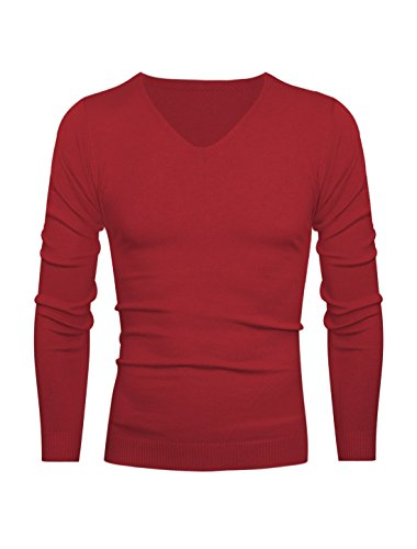 Hommes Col V Pull-over Slim Manches Longues Tricot Chemise Rouge