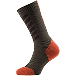 Seal Skinz MTB Mid with Hydro Stop Calcetines, Unisex, Color Dk Olive/Mud/Orange, tamaño Large