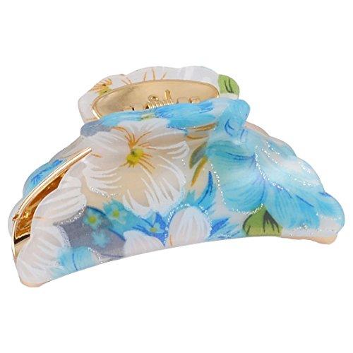 Haare Claw - SODIAL(R) Damen Federbelastet Blau Weiss Blumenmuster Plastik Klaue Klemme Haarspange