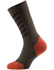 SealSkinz MTB MID MID with Hydro Stop Calcetines, todo el año, unisex, color Dk Olive/Mud/Orange, tamaño M
